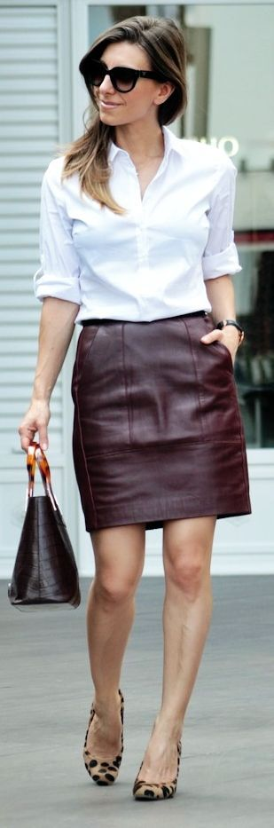 What To Wear With A Brown Leather Skirt