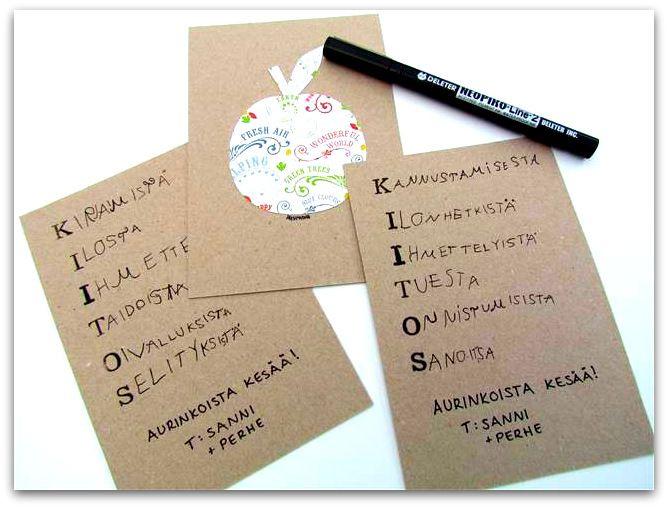 ♣ Yhdessä eskarilaisen kanssa askarreltu kortti kiitokseksi ja muistoksi opettajalle. ♣ Tarvikkeet korttipohja koristepaperi liimaa leimasinkirjaimia + muste musta tussi ♣ Piirrä koristepaperille o…
