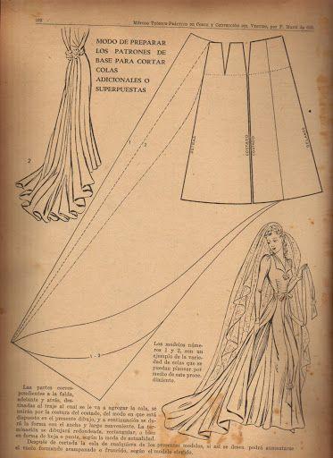 Vintage 1940s Wedding Dress Pattern Draft