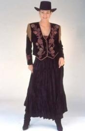 Black Velvet Tiered Broomstick Skirt