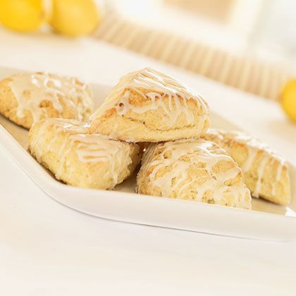 BabyZone: Pinkies Up! Recipes for a Tea Party Baby Shower    Glazed Lemon Scones  Recipe: http://spoonful.com/recipes/glazed-lemon-scones