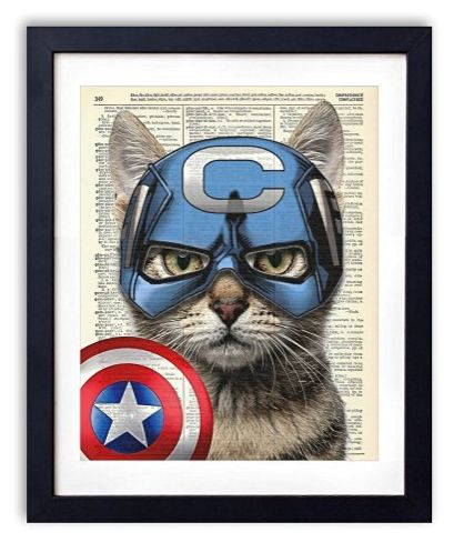 Captain Cat America Super Hero Vintage Upcycled Dictionary Art Print - 8x10 inches. (affiliate link)