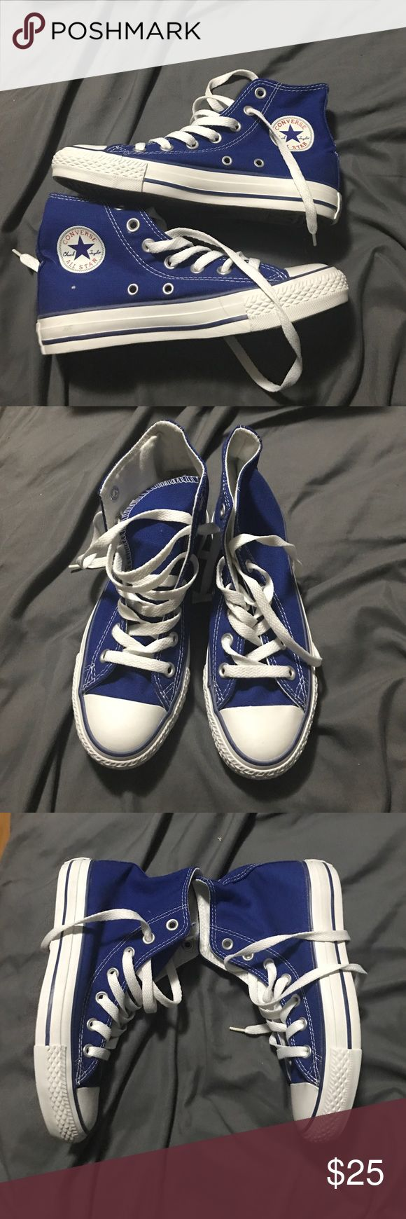 Blue all star converse high tops Never worn size 3 men 5 women blue converse high tops Converse Shoes Sneakers