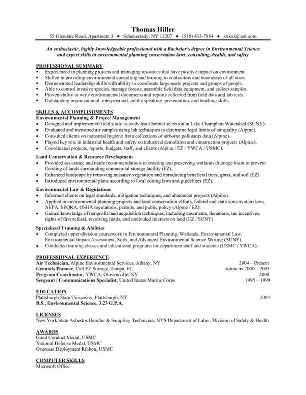 20 best Resumes images on Pinterest Resume ideas, Resume help - environmental science resume