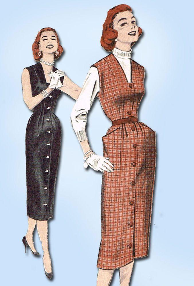 1950s Vintage Butterick Sewing Pattern 7049 Easy Misses Jumper Dress Size 14 32B #Butterick #DressPattern