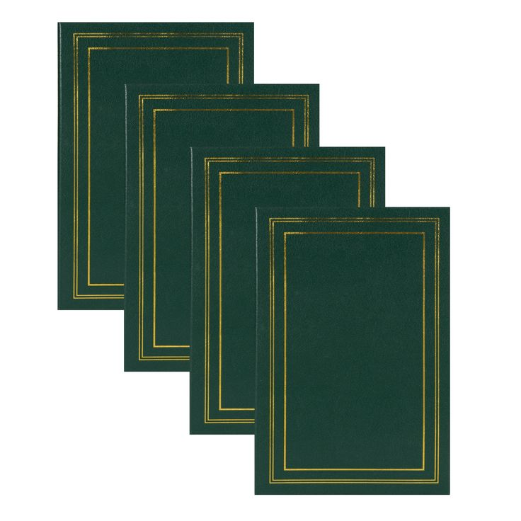 DesignOvation Traditional Photo Albums, Holds 300 4x6 Photos, Set of 4 (Dark Green) (Synthetic Fiber)