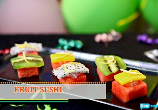 Chef Roble's fruit sushi; I'd love to follow my real sushi up with this!!!