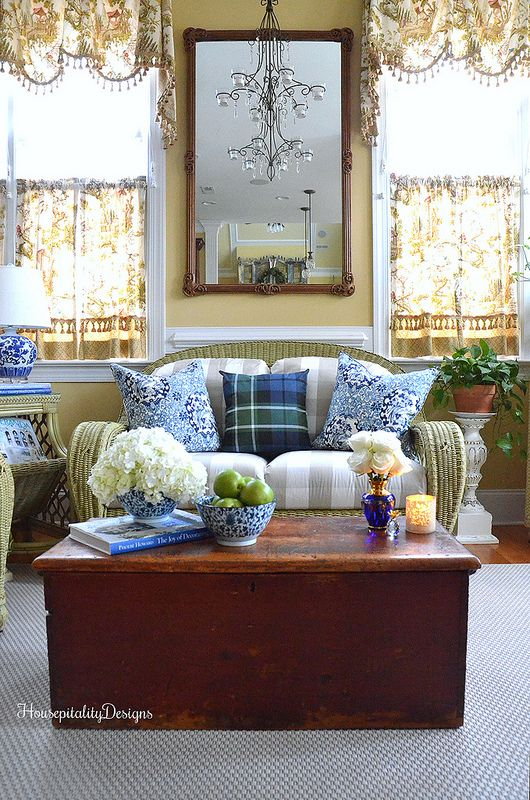 Blue and White-Sunroom-Housepitality Designs I would use simpler window treatments....