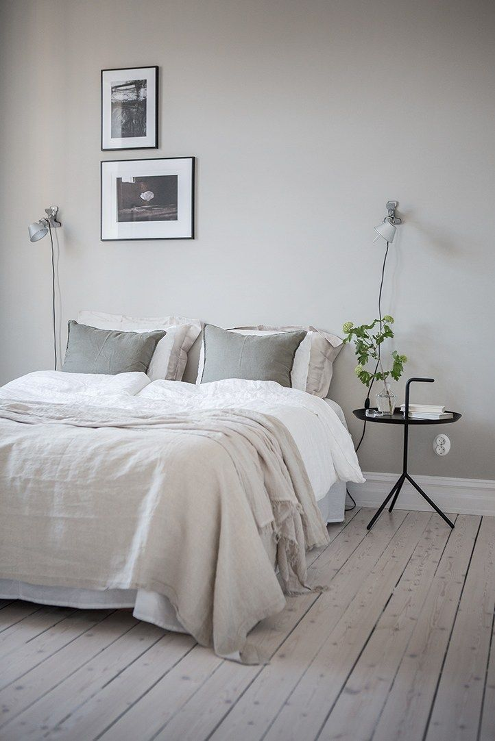 A calming grey bedroom More