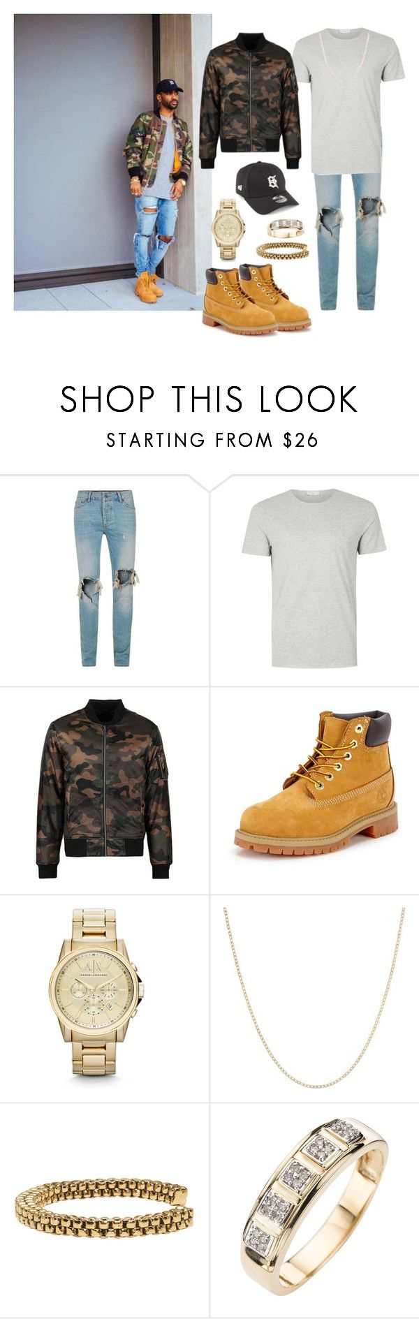 """""""Big Sean- Camo Style"""" by tasharna ❤ liked on Polyvore featuring Timberland, Armani Exchange, CO, men's fashion and menswear"""