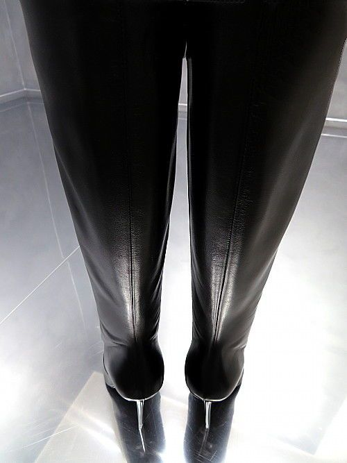 LEDER HOHE STIEFEL SCHWARZ 1969 ITALY DAMEN E76 BOOTS BLACK LEATHER HIGH HEELS