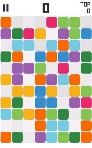 (GIF)  Popong! by 111% (Android / iOS). Relaxed casual game. Remove all blocks by tapping fields that have a same-coloured block in its row and column. Available for free.