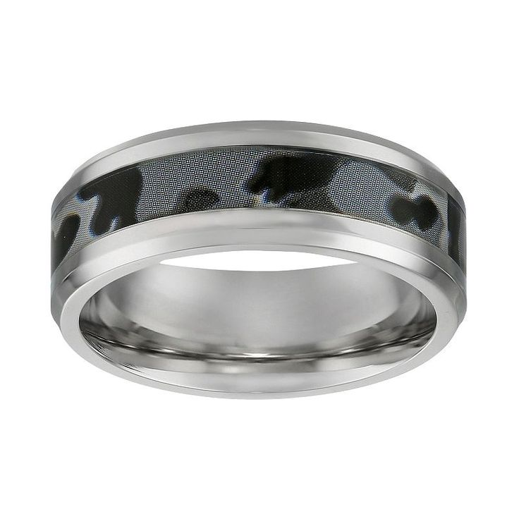 Stainless Steel Gray Camouflage Band - Men, Size: 1