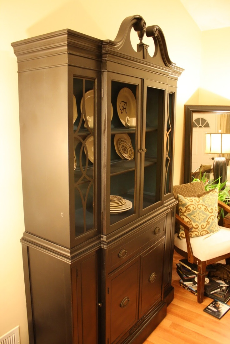 Brown China Cabinet With Black Interior This May Be My
