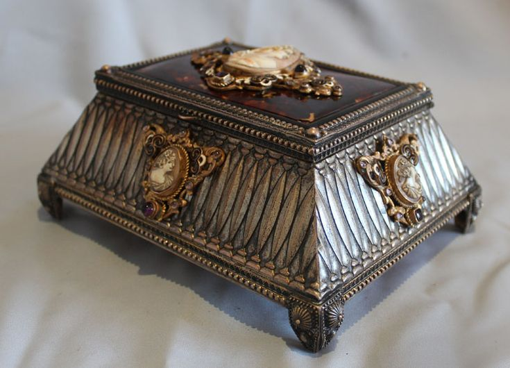 Antique silvered bronze, enamel, tortoiseshell jewellry casket with five carved - Gavin Douglas Antiques