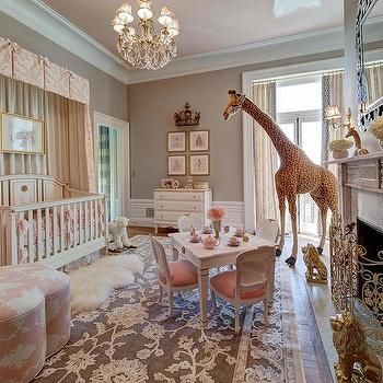 Crib with Pink Valance and Curtains, French, Nursery, Benjamin Moore Smokey Taupe