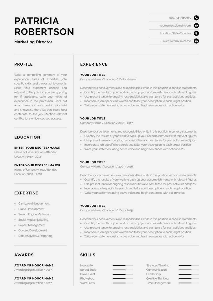 One Page Resume Template Check Out Www Resumedownloads Net For Free Cover Letters Modern Business Cv Words Resume Template Professional Good Resume Examples