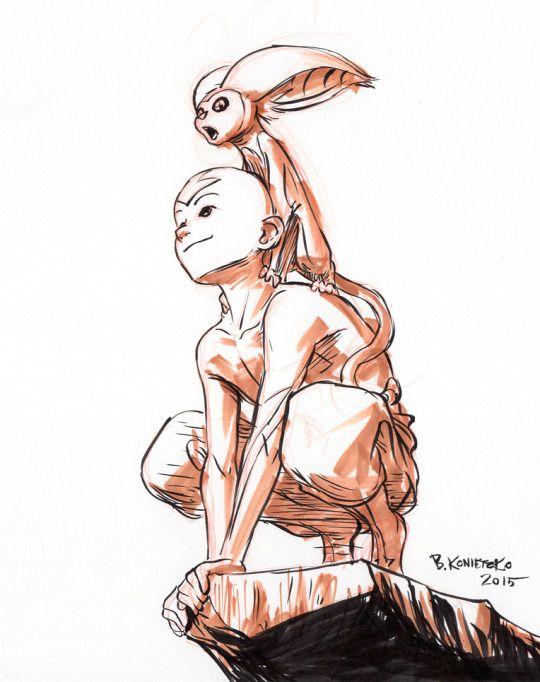 Intober Day 2 - Aang & Momo by bryan konietzko