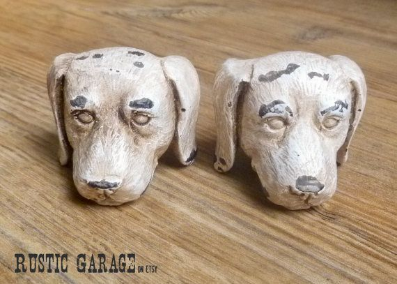 SET OF 2 - Antiqued White Dog Knob - Doggie Drawer Pull - Puppy Nursery Decor - Decorative Knob - Shabby Chic Cabinet Decor