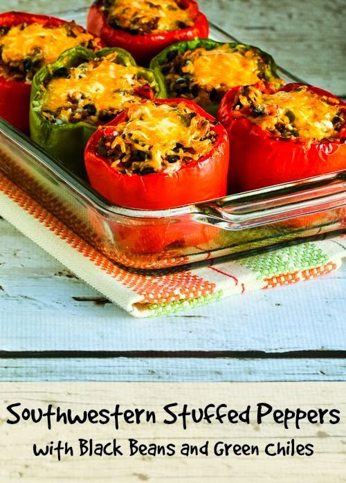 Southwestern Stuffed Peppers Recipe with Black Beans and Green Chiles | Kalyn's Kitchen