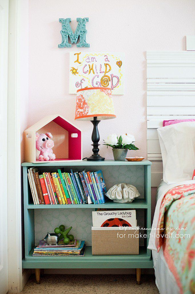 When the hubby has a decor/storage solution, you jump at it! This bookcase/bedside table idea is the perfect execution.