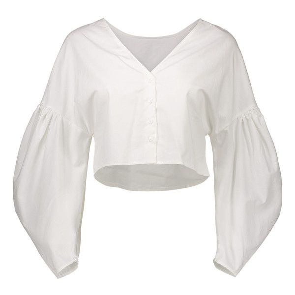 Puff Sleeves Cropped Button Up Blouse White ($21) ❤ liked on Polyvore featuring tops, blouses, white button down blouse, cropped white blouse, white top, puffy sleeve blouse and white crop top