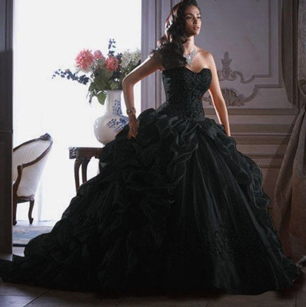 2014 Hot Sale Black Prom Party Quinceanera Pageant dress Wedding dress Ball Gown #Fascdel #BallGown #Formal