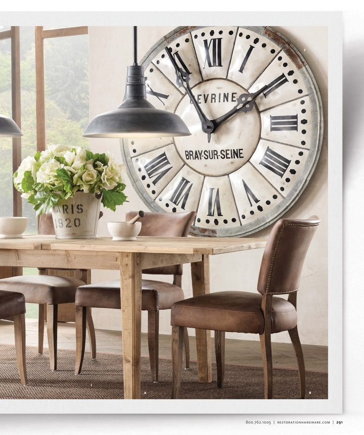 Large clock in dining room |