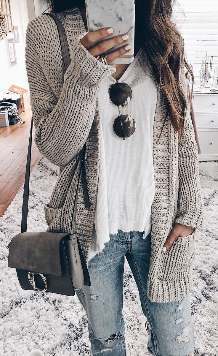 #fall #outfits women's gray knit cardigan, white top, distressed blue denim jeans outfit