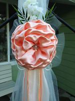 SET OF 6 LOVELY Peach Chair Bows Pew Bows White Church Aisle Weddiing decoration