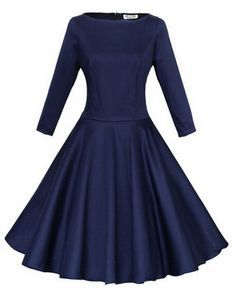 Simple-dress 2015 3/4 Sleeves Boat Neck Knee-length Sash Vintage Women's Dress (Plus Size Available) T-11