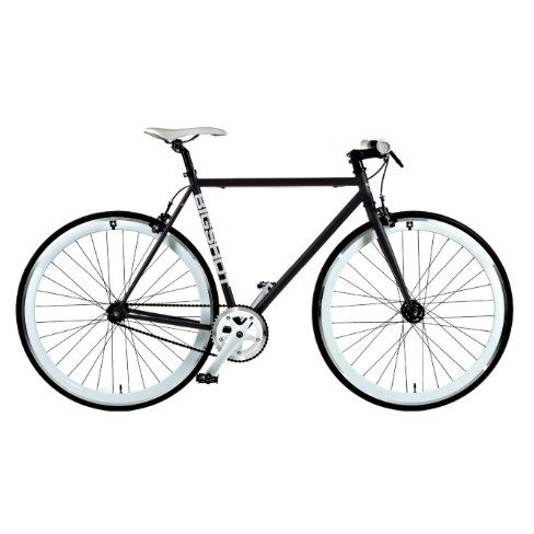 Matte Black and White Single Gear Speed Bicycle