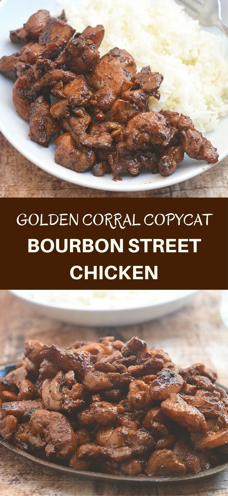 Golden Corral Bourbon Street Chicken Copycat brings all the sweet, sticky, salty and yummy flavors you love right in your own kitchen. Only five ingredients and less than 20 minutes of cook time for an amazing dinner meal the whole family will love!