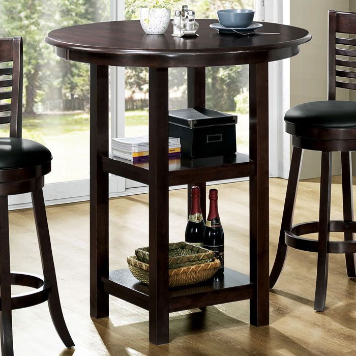 Found it at www.dcgstores.com - ♥ ♥ Piety Round Top Bar Table - Cappuccino, Two Shelves ♥ ♥