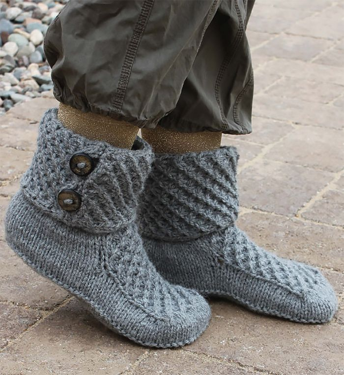 Free Knitting Pattern for Walk of Fame Slippers - These cozy slipper boots feature a 4 row repeat star stitch on the uppers and cuffs. Fast knit in bulky yarn.Woman's S (M, L). Designed by Lena Skvagerson.