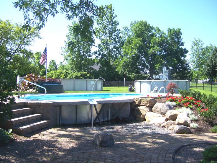 17 best pools semi inground & above ground images on pinterest ... - Patio Pool Ideas
