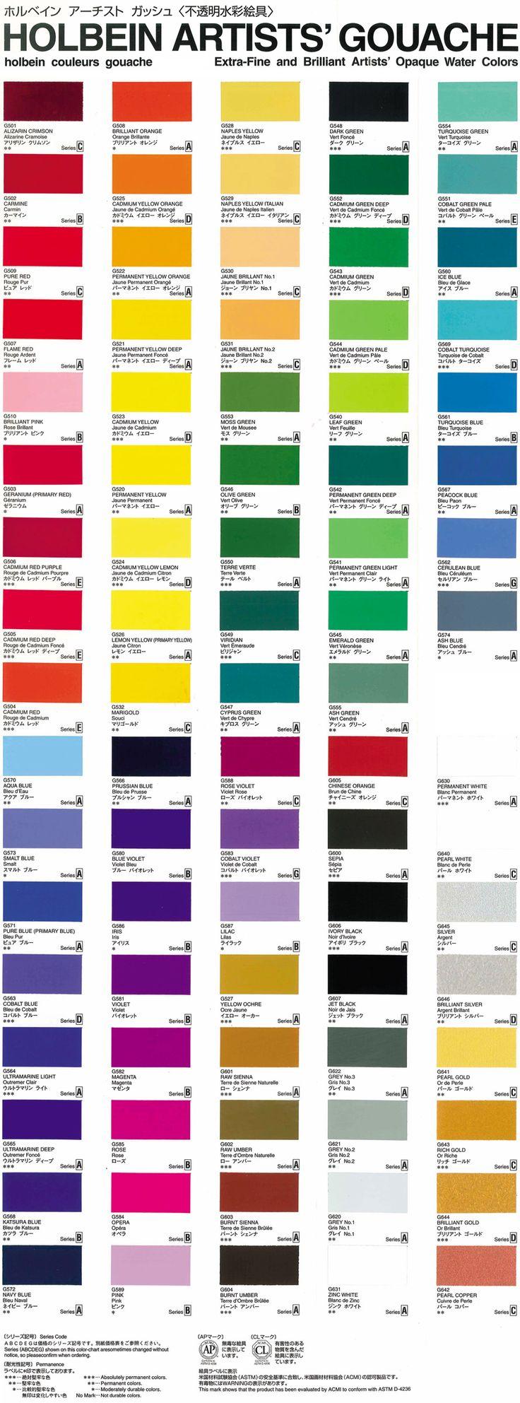 50 best color images on pinterest colour chart color palettes holbein gouache color chart nvjuhfo Images