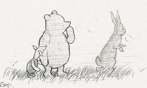 """Hallo, Rabbit,"" he said, ""is that you?""  ""Let's pretend it isn't,"" said Rabbit, ""and see what happens."""