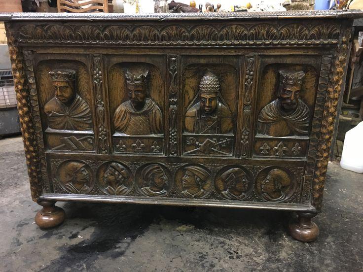 Antique decorative oak carved mule chest