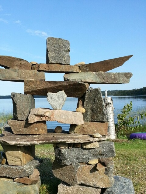 Inukshuk this a tribute to my dear friend and neighbor who was stolen from us by cancer. It sits at our lakefront and is a reminder of how much we loved her, and how much we miss her.