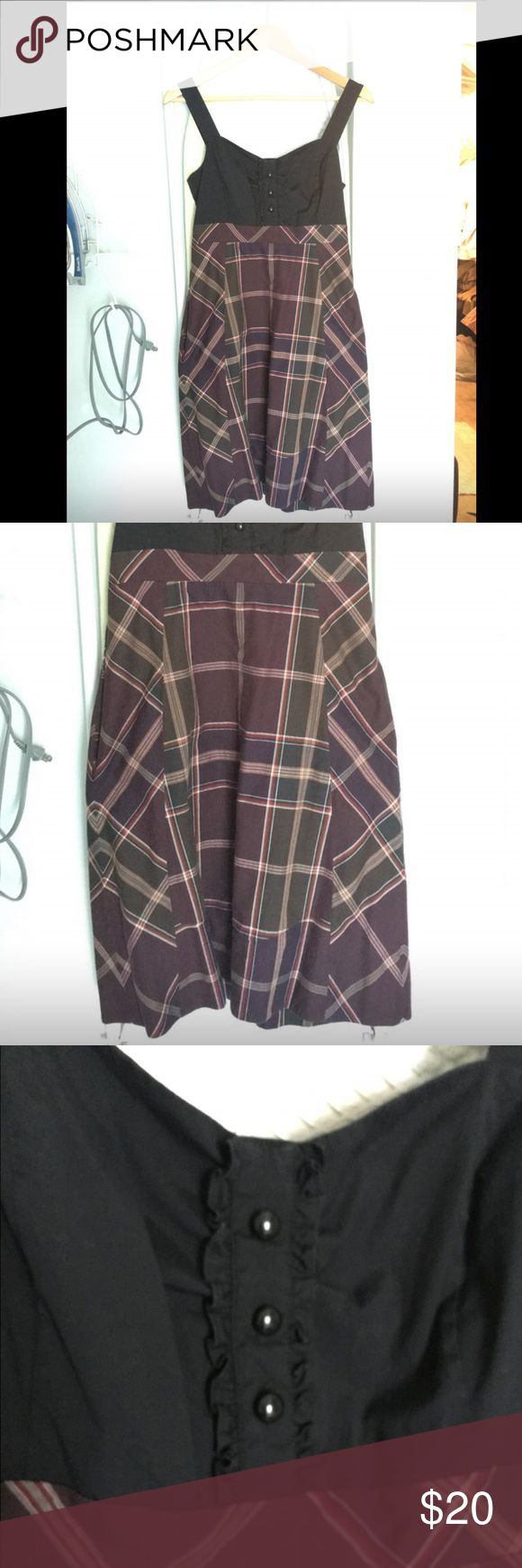 Mauve Small fall flannel style dress very cute flannel style dress up to the knee. flattering. high waistline. can be worn with leggings & boots or with flats. Mauve Dresses Midi