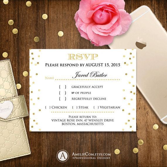The 25 best Gold reply cards ideas – Birthday Rsvp Cards