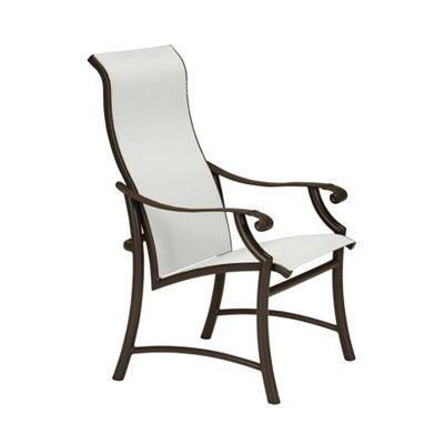 Tropitone Montreux II Sling High Back Dining Chair Finish: Snow, Fabric: Sparkling Water