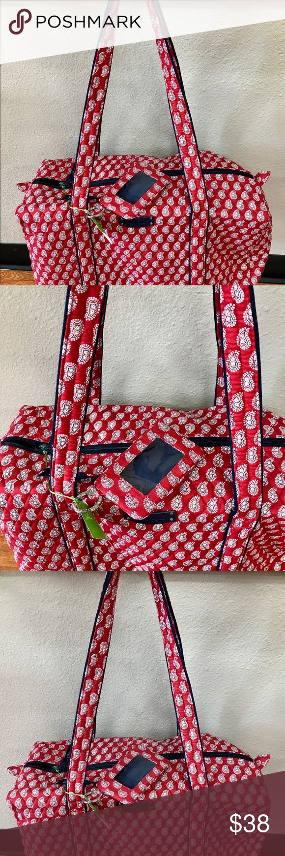 Vera Bradley red bandanna small duffel & ID Holder This is not meant dick small duffel by vera Bradley called petite red bandanna please leave the suggested retail price on the duffel is $68. As a free gift I'm including Annette the matching ID holder. If you've never owned a vera Bradley product you don't know what you're missing get it dirty throw it in the washer and they come out beautiful get it before it's gone. Vera Bradley Bags Travel Bags