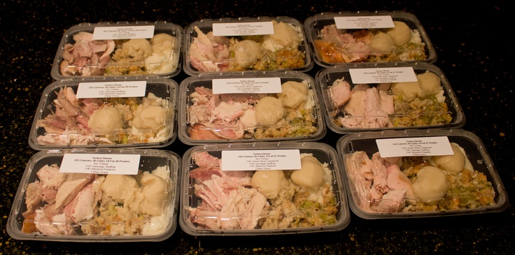DIY TV Dinner.  ~300 Calories.  Complete turkey dinner with slow smoked turkey, green bean casserole, mashed potatoes, sausage stuffing, and gravy.  Bought a bunch of food service entree containers, so this is how we will do leftovers from now on.