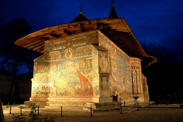 "The Voroneț Monastery is a medieval monastery in the Romanian village of Voroneț, now a part of the town Gura Humorului. It is one of the famous painted monasteries from southern Bukovina, in Suceava County.The monastery was constructed by Stephen the Great in 1488.Often known as the ""Sistine Chapel of the East"", the frescoes at Voroneț feature an intense shade of blue known in Romania as ""Voroneț blue."