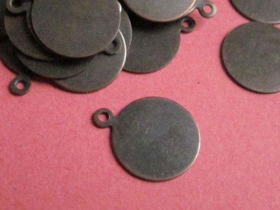 13mm Tag Drop Antique Copper http://etsy.me/1Iw8ggj #jewelry #brass #gem #drop #disc #charm #jewelonpet #etsy