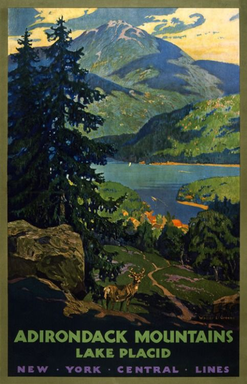 Adirondack Mountains, Lake Placid New York Central Lines. This vintage railroad travel poster shows a stag standing in the foreground of Lake Placid. Illustrated by Walter L. Greene, circa 1920s. Vintage travel poster.