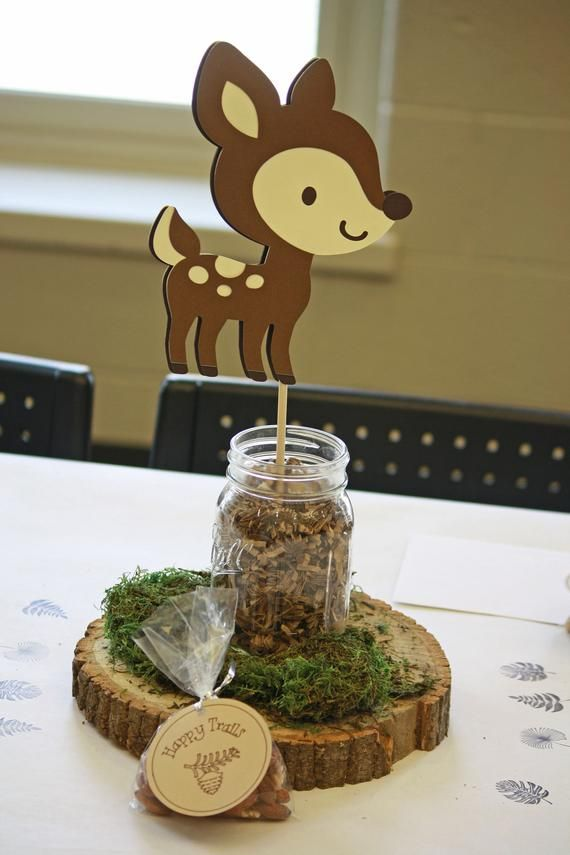 Woodland Baby Shower Decoration – 5 Woodland Animal Centerpiece Stakes – Woodland Party – Woodland B