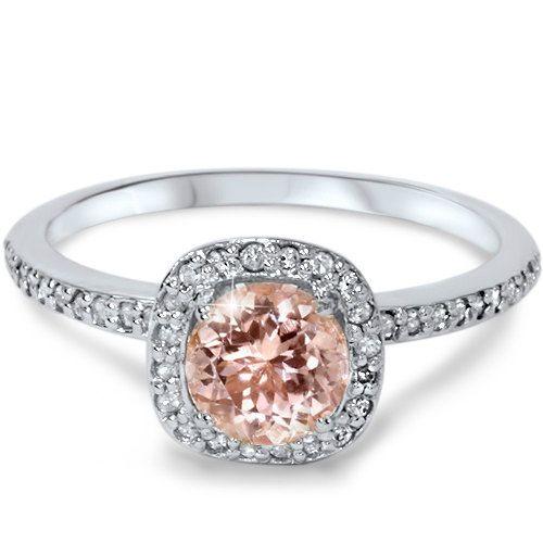 1.00Ct Morganite & Diamond Cushion Halo Engagement by Pompeii3, $449.99